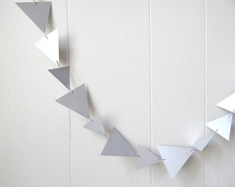 Silver Triangle Bunting / Garland  10 ft