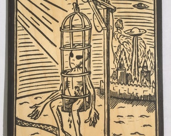 The Example - Medieval Alien UFO Woodcut