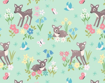 So Darling A286-2 Little Deer on Mint Lewis & Irene Patchwork Quilting Fabric