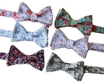Floral Bow Tie~Mens Self Tie Bow Tie~Mens PreTied~Anniversary Gift~Blush~Coral~Cotton Bow Tie~Wedding Bow Tie~Mint~Gray~Peach~Aqua