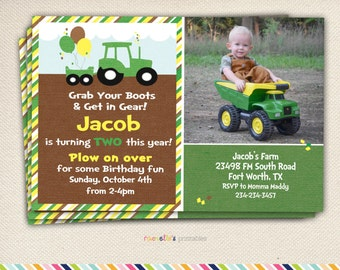 Tractor birthday invitation tractor invitation john green tractor birthday party invite and thank you cards printable invitations filmwisefo