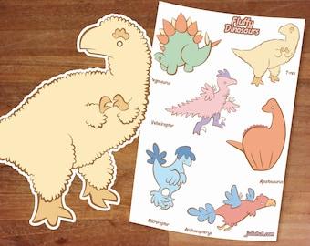 Stickers / Dinosaur Stickers / Fluffy Dinosaurs / Sticker Set/ Cute Dinos / Sticker Sheet / T-rex / Velociraptor / Stegosaurus / Apatosaurus