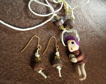 """Gnome """"Julie"""" Necklace and Earrings"""