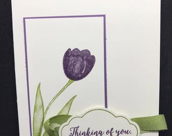Sympathy card, Thinking of You, Handmade, purple tulip
