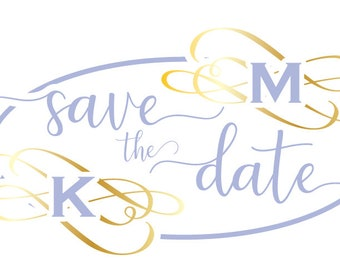 Save the Date with Initials file download