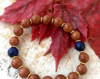 Lapis Lazuli Goldstone Bracelet