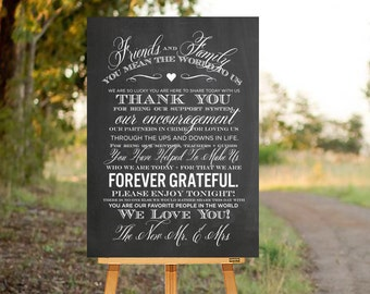 Wedding Thank You Sign, Printable Wedding Sign, Reception Sign, Rustic Thank You, Chalkboard Wedding Sign, Thank You Poster Chalkboard
