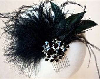 Black Feather Fascinator,Black Bridal Fascinator,Black Crystal Fascinator,Black Feather Hair Piece,Black Feather Hair Comb,Evening Hair Comb