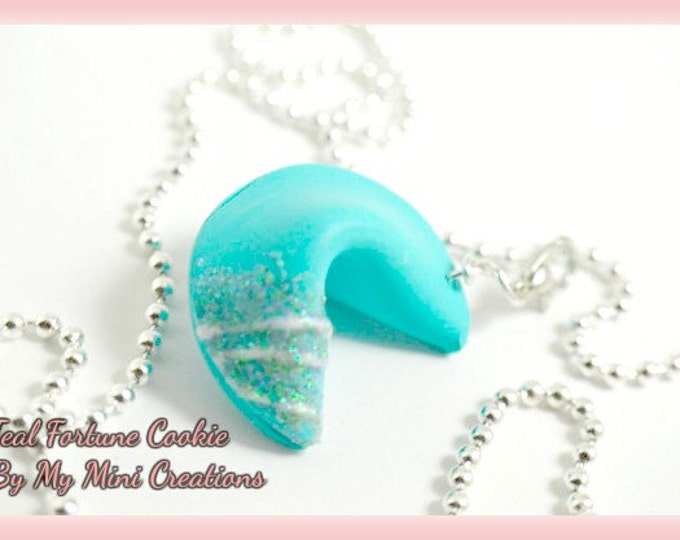 Teal Fortune Cookie Necklace, Miniature Food, Miniature Food Jewelry, Food Jewelry