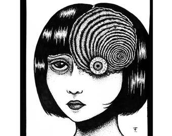 Original illustration in pen Uzumaki (Junji Ito)