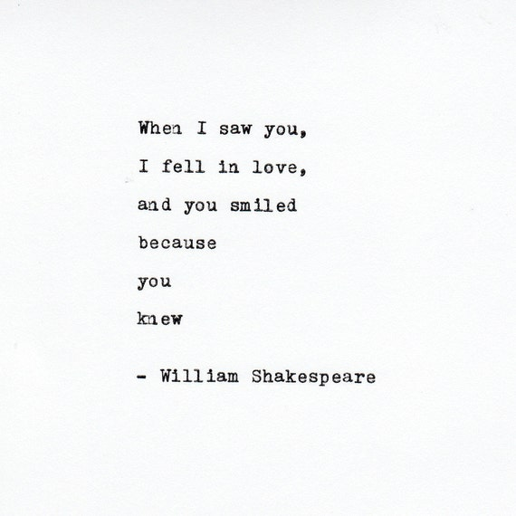 William Shakespeare Love Quote Made On TypewriterTypewriter