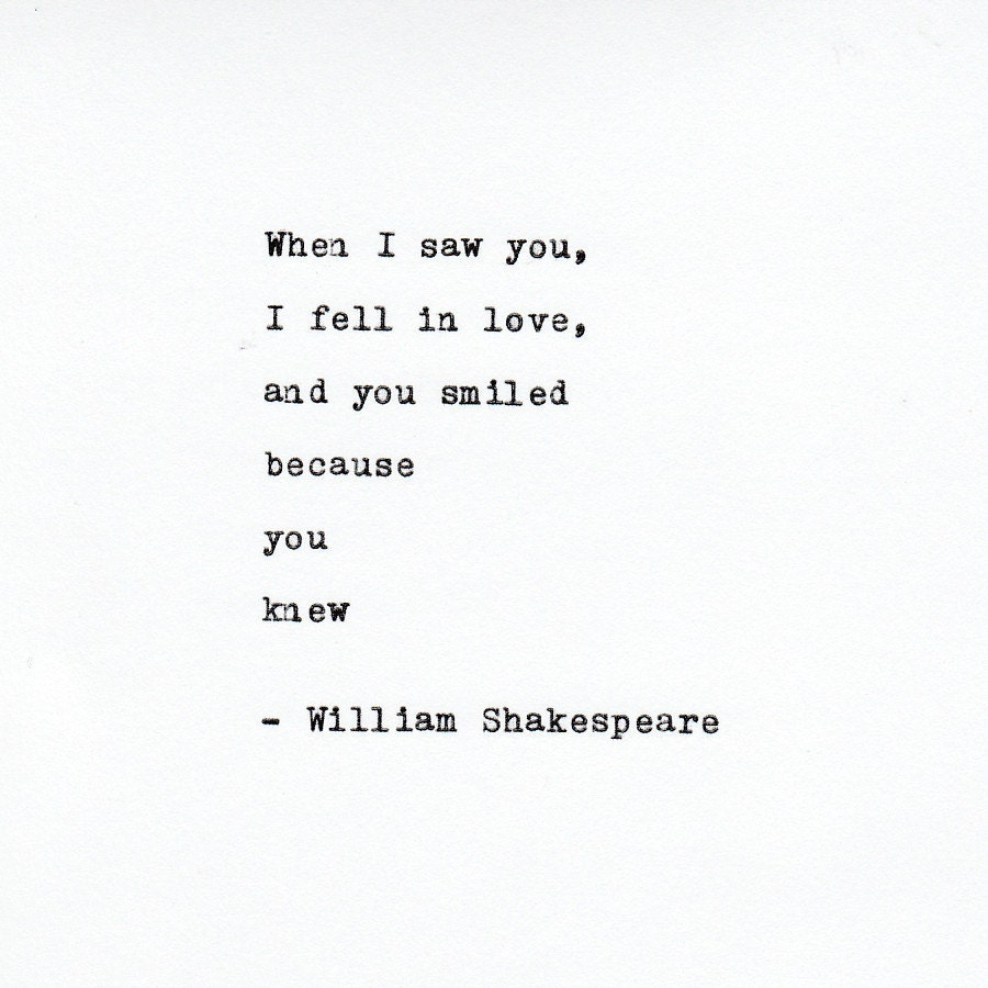Shakespeare Love Quotes For Her: William Shakespeare Love Quote Made On TypewriterTypewriter