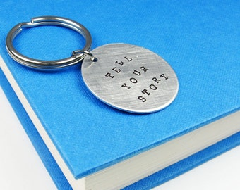 Storyteller Keychain - Tell Your Story for Writers, Authors, Artists, Teachers - Lightweight Key Ring in Silver Tone Metal
