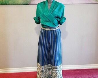 Vintage Wide Leg Pants, Blue Stripes, Handmade In Guatemala, Size Small