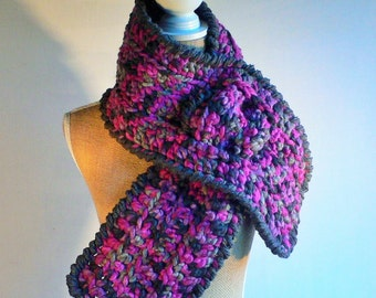 Keyhole Scarf, Crochet Scarf, Short Scarf, Womens Accessories, Gift for Her, Pull Through Scarf, Plum Scarf, Chunky Scarf, Neck Warmer