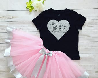 Four Birthday Girl tutu outfit, Four years old Girl tutu and shirt