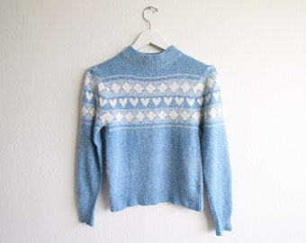 VINTAGE Sweater Heart Sweater Soft Angora Silk Blue 1980s Knit Small