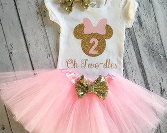 Pink and Gold Oh Twodles Minnie Mouse 2nd Birthday Shirt & Tutu, Toodles Birthday Shirt, Oh Twodles, Minnie Mouse 2nd Birthday Outfit, Tutu