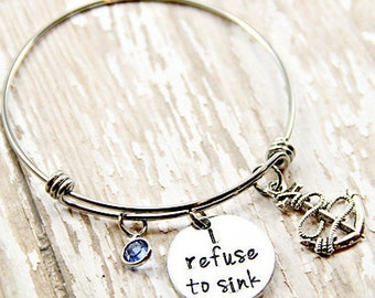 Anchor Charm Bracelet - I refuse to sink - Inspirational Gift - Wire Bangle - Jewelry - Hand Stamped - Personalized - Charm Bracelet