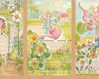 In the Garden Girls Gardening Blend Cori Dantini Cotton Fabric Panel