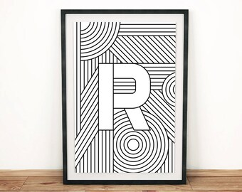 "Typography Print | Letter Print ""R"" 