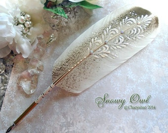 Ornate SNOWY OWL Totem Feather Quill Dip Pen