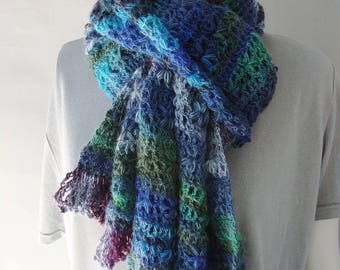 Merino Wool Scarf, Crochet Scarf, Blue Scarf, Merino Scarf, Color Harmony Scarf, Crocheted Scarf, Striped Scarf, Gift for Him, Gift for Her
