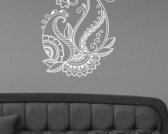Mehndi Henna Paisley Flower Wall Art Decal Floral Pattern Vinyl Sticker Hindu Ornament Art Indian Decorations for Home Yoga Room Decor mh5
