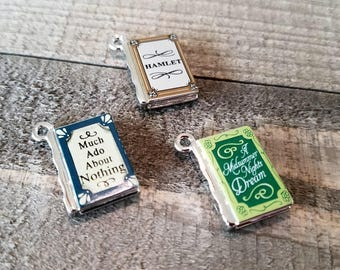 Miniature Book Charms Metal Charms Book Pendants Tiny Book Charms Miniature Books Classic Books Library Charms Librarian Charms Set of 3 *