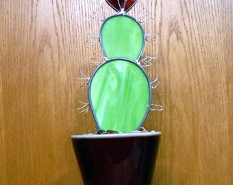 Prickly Pear Cactus in a Pot in Stained Glass