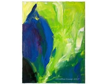 Abstract Oil Painting Blue Violet Lime Green Yellow Flower Bud Greenery Print Minimalist Modern Art Home Wall Decor Beach Cottage Chic