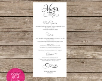 Printable Blakeley Menu for weddings, showers and parties - Lovely Little Party - You Choose Color