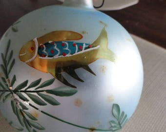 Mercury Glass Hand Painted Ball Ornaments Vintage gold fish