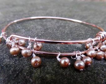 "the ""lydia"" bracelet ~ champagne freshwater pearls affixed to rose gold adjustable bangle"