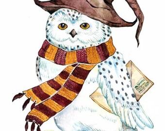 White Owl Print Owl Nursery Print Bird Watercolor Fantasy Art  white Bird Print kids room Owl Decor Print