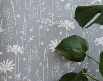 Blue Grey Dusky Floral Daisy Meadow Botanical Tonal Wallpaper // Daisy Meadow in 'Moonrise' by Hannah Nunn