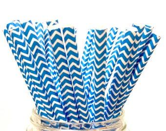 25 Fiesta Blue chevron paper straws // baby shower decorations // candy dessert buffet table // wedding // First birthday/new year year