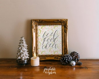 Christmas decor printable decoration, holiday wall art decor poster, Christmas carol digital typographic children's room - be of good cheer