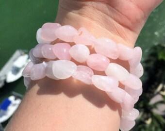 3 Rose Quartz Bracelet SET,  Rose Quartz Jewelry Healing Love Crystals and Stones