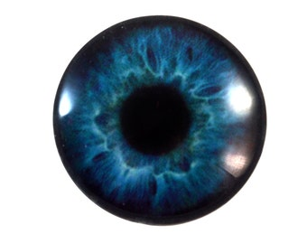 Deep Blue Glass Eye Cabochon 30mm Human Eye for Pendant Jewelry Making or Taxidermy Doll Iris Eyeball Flatback Domed Circle