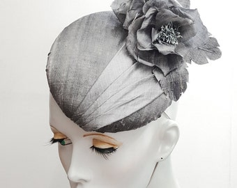 Grey silk button beret fascinator with roses ideal weddings or races hat