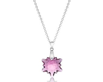 Crystal Edelweiss Pendant Sterling Silver Necklace made with Swarovski® Crystals