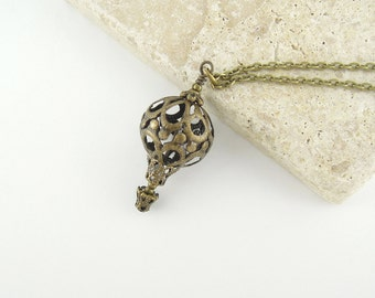 Hot Air Balloon Jewelry - Antique Bronze Filigree Hot Air Balloon Necklace - Unique Steampunk Design - Gift for Her