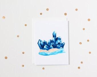 Watercolour Sapphire Gemstone Blank Greeting Card