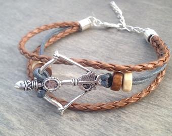 Bohemian Bracelet - Native American Bracelet - CrossBow Bracelet  - Boho bracelet - tribal bracelet - surf bracelet