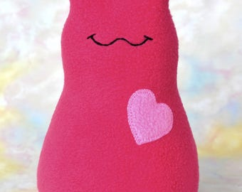 Handmade Slug Stuffed Animal, Watermelon Pink Fleece Plush, Personalized Tag, Kids Baby Toddler Soft Doll Art Toy, Hug Me Slug, 9 inch