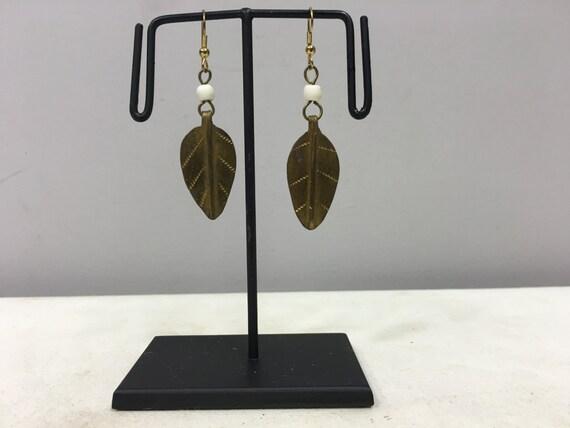Earrings African Brass Leaf White African Glass Earrings Masai Beaded Earrings Handmade Brass White Glass Women Earrings Tribal E51