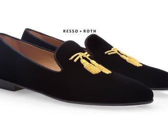 Resso Roth Men's Black Suede Loafers Belgian Loafers Slip-on Loafer Black Velvet Loafers