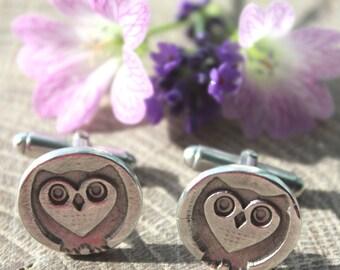 Owl cufflinks, handmade cufflinks, sterling silver owl cufflinks, dad cuff links, silver wildlife cufflinks, steampunk owl, groom cufflinks