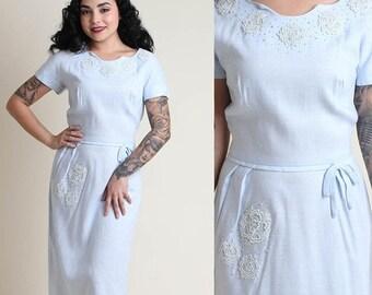 SALE SALE SALE vintage 50s Pale Blue floral Applique wiggle dress S M / piping linen hourglass pinup rockabilly dress 1950s